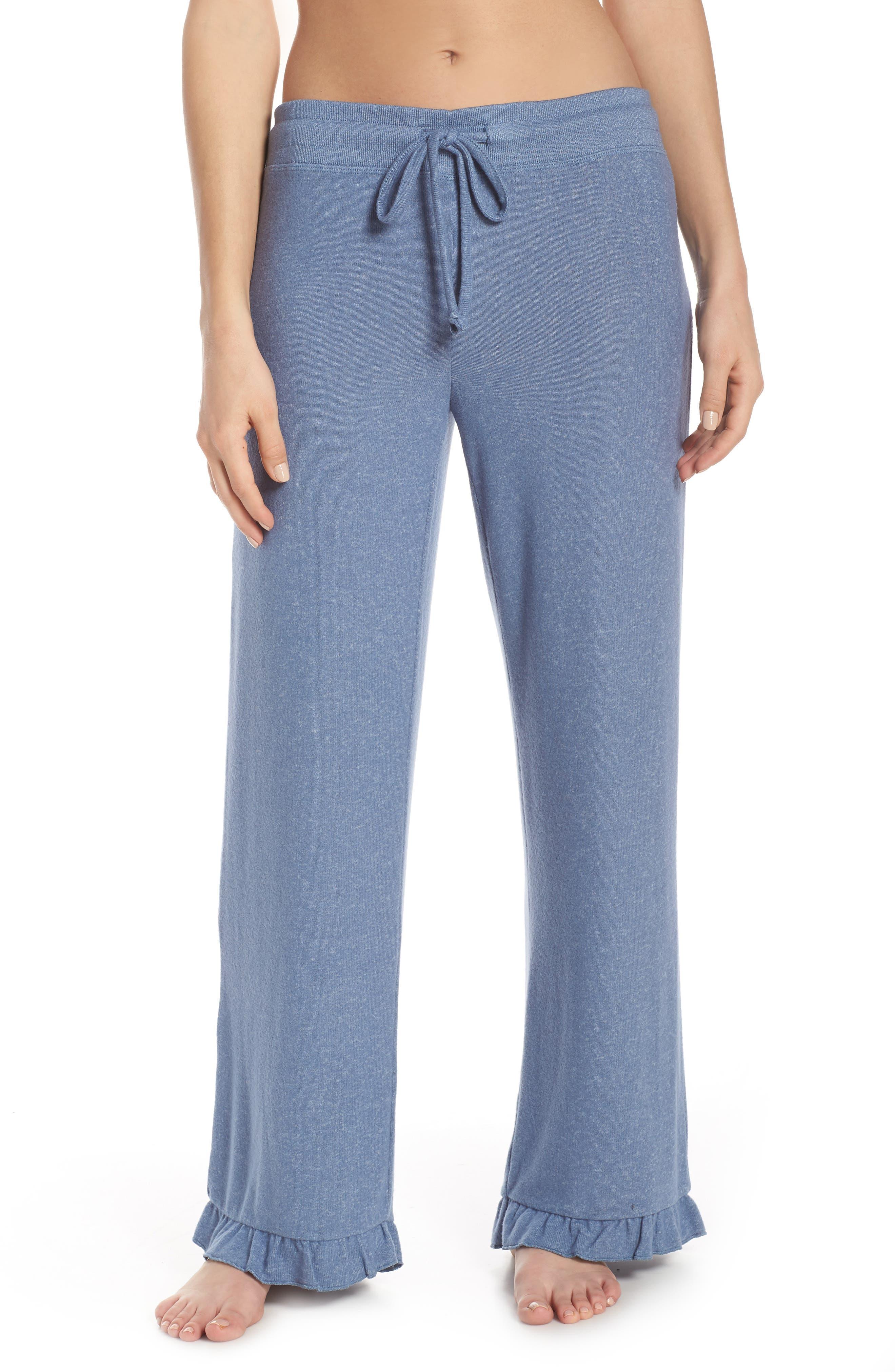 Make + Model Ruffle Hem Hacci Sweatpants, Blue
