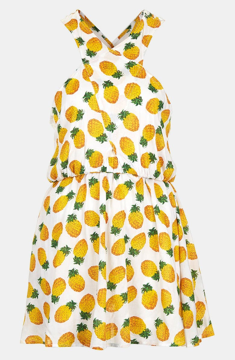 TOPSHOP Pineapple Print Sundress, Main, color, 100