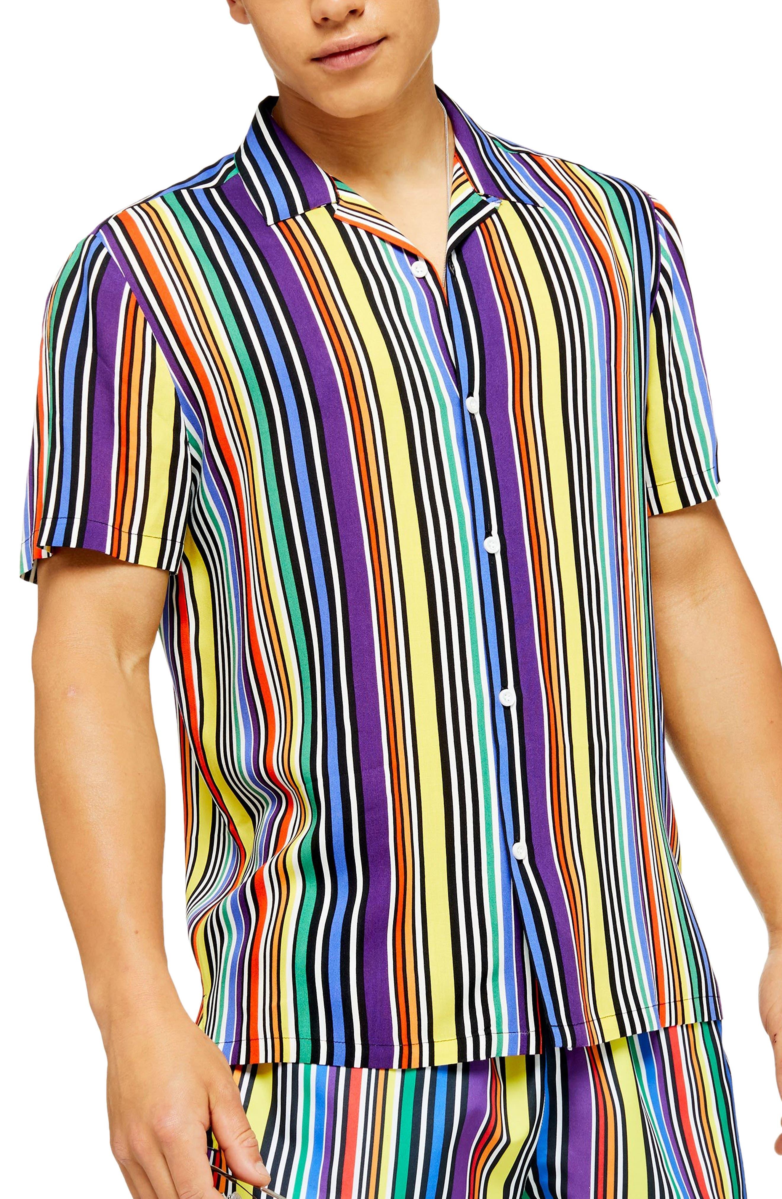 1960s – 70s Mens Shirts- Disco Shirts, Hippie Shirts Mens Topman Regular Fit Stripe Short Sleeve Button-Up Camp Shirt Size X-Small - Yellow $45.00 AT vintagedancer.com