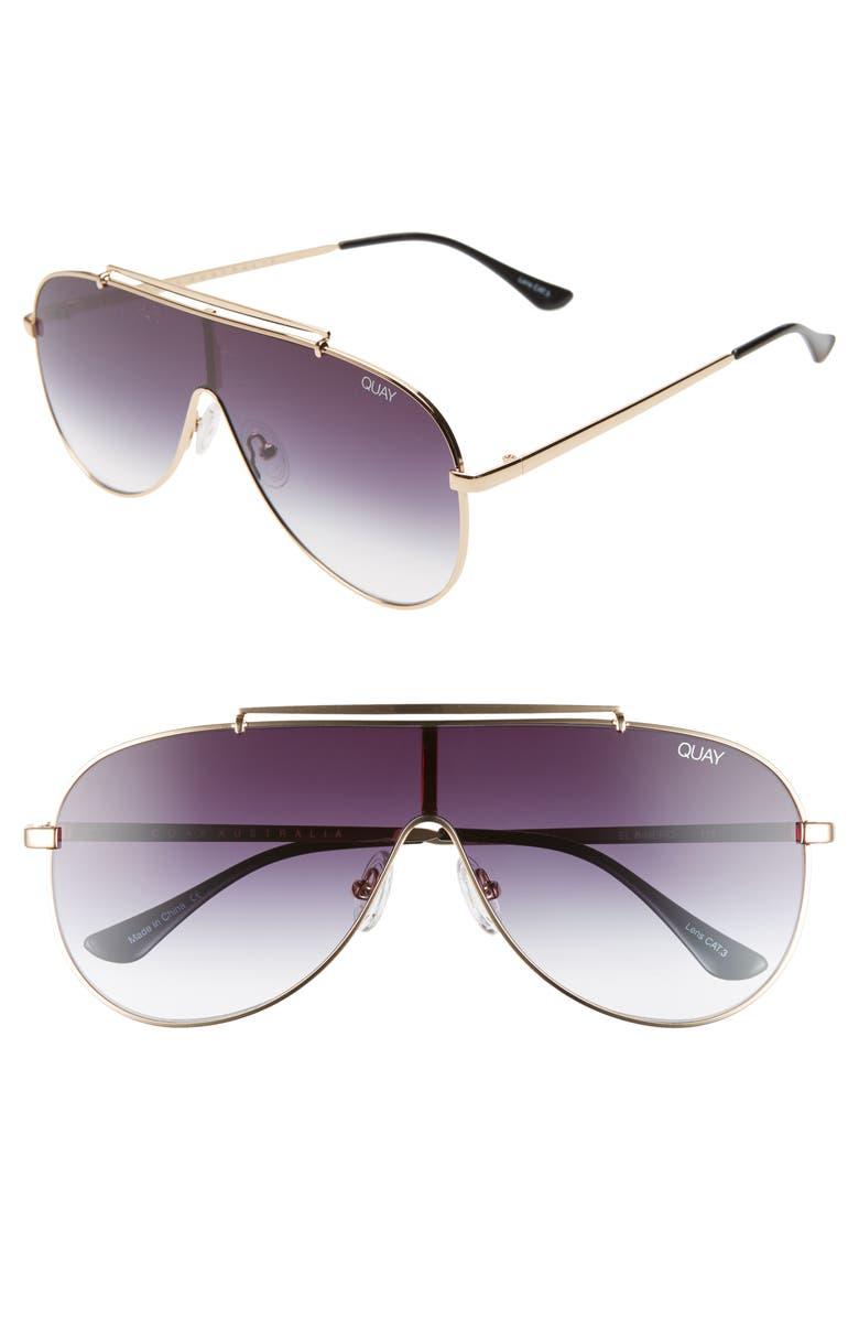 QUAY AUSTRALIA x JLO El Dinero 55mm Aviator Shield Sunglasses, Main, color, GOLD/ BLACK FADE