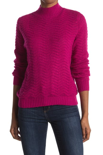 Image of Elodie Textured Mock Neck Sweater
