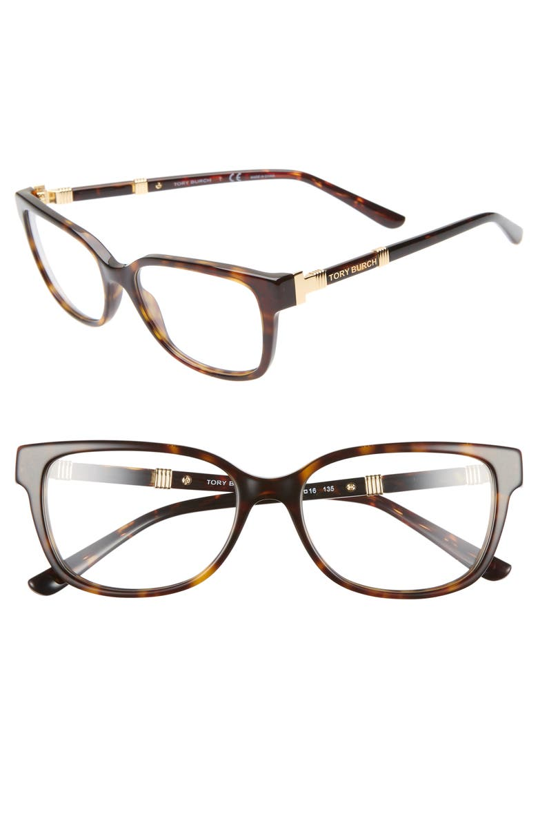 TORY BURCH 52mm Optical Glasses, Main, color, DARK TORTOISE