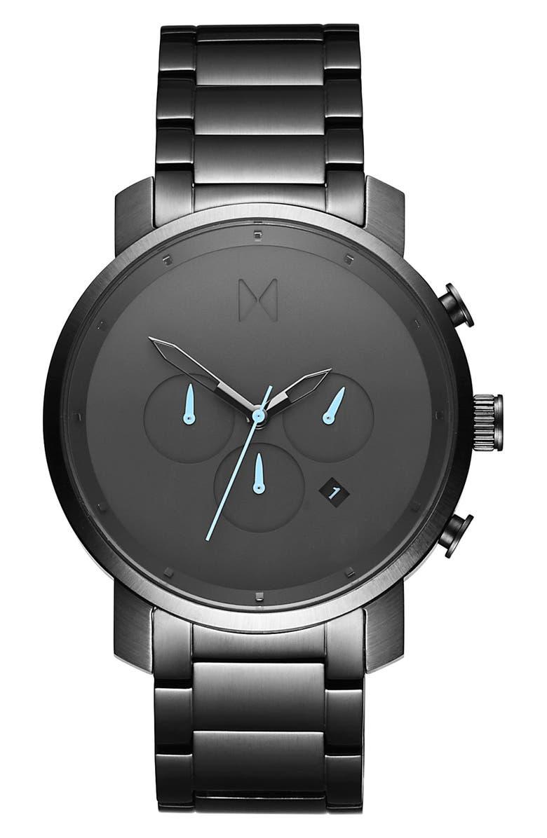 MVMT Chronograph Bracelet Watch, 45mm, Main, color, SILVER/ BLACK/ SILVER