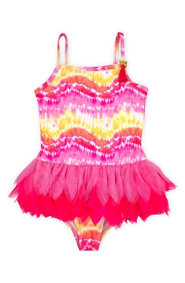 KATE MACK Tie Dye Tutu Swimsuit, Main, color, YELLOW