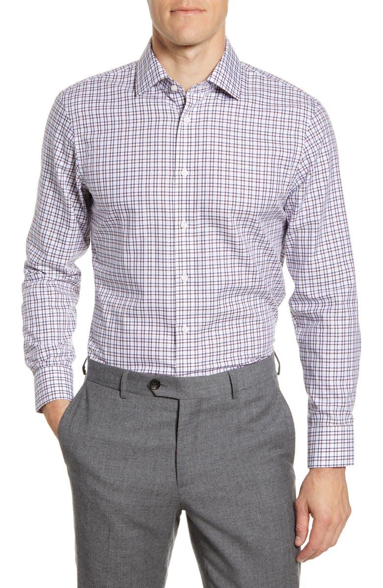 THE TIE BAR Trim Fit Tattersall Twill Dress Shirt, Main, color, BURGUNDY