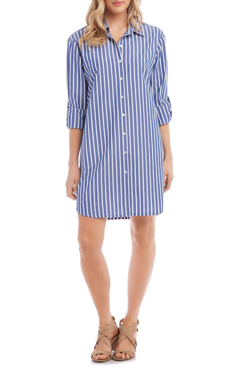 KAREN KANE Stripe Shirtdress, Main, color, BLUE WITH WHITE
