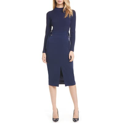 Ted Baker London Ellhad Mock Neck Belted Dress, (fits like 8-10 US) - Blue