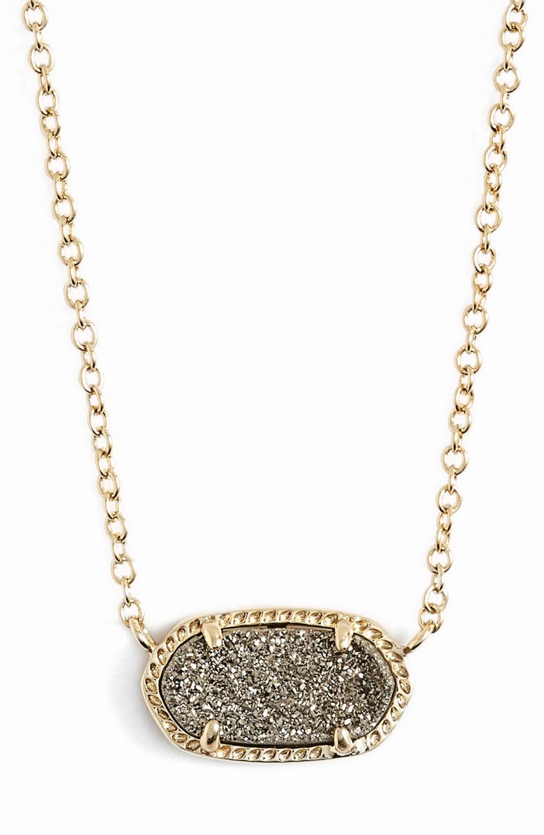 KENDRA SCOTT Elisa Pendant Necklace, Main, color, PLATINUM DRUSY