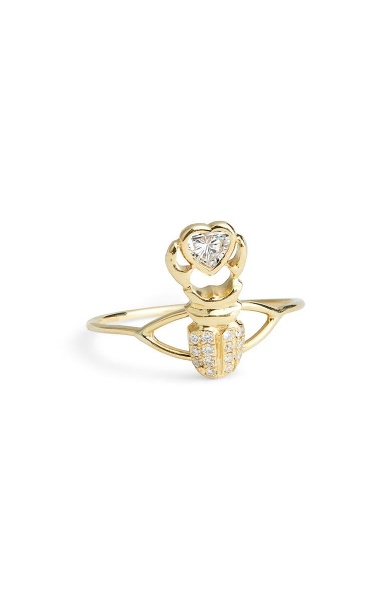 DANIELA VILLEGAS Khepri Heart Diamond Ring, Main, color, 18KYG