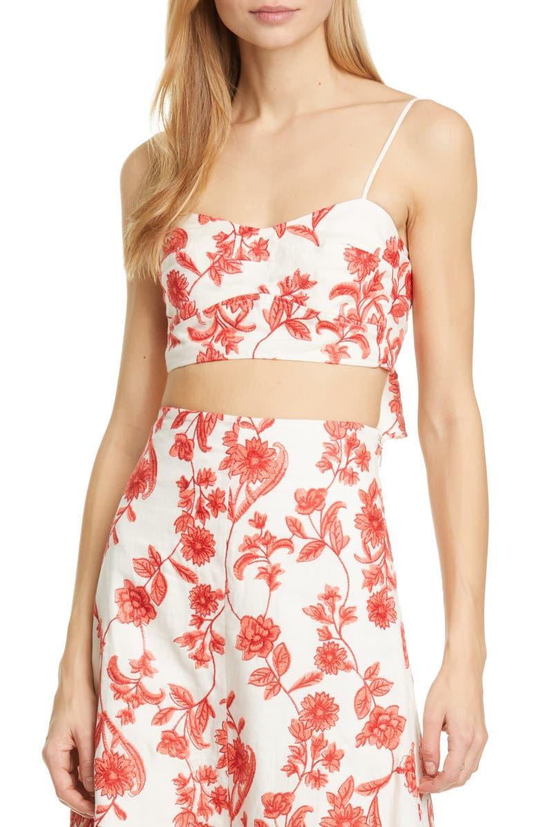 REBECCA TAYLOR Scarlet Embroidered Linen Crop Top, Main, color, 128