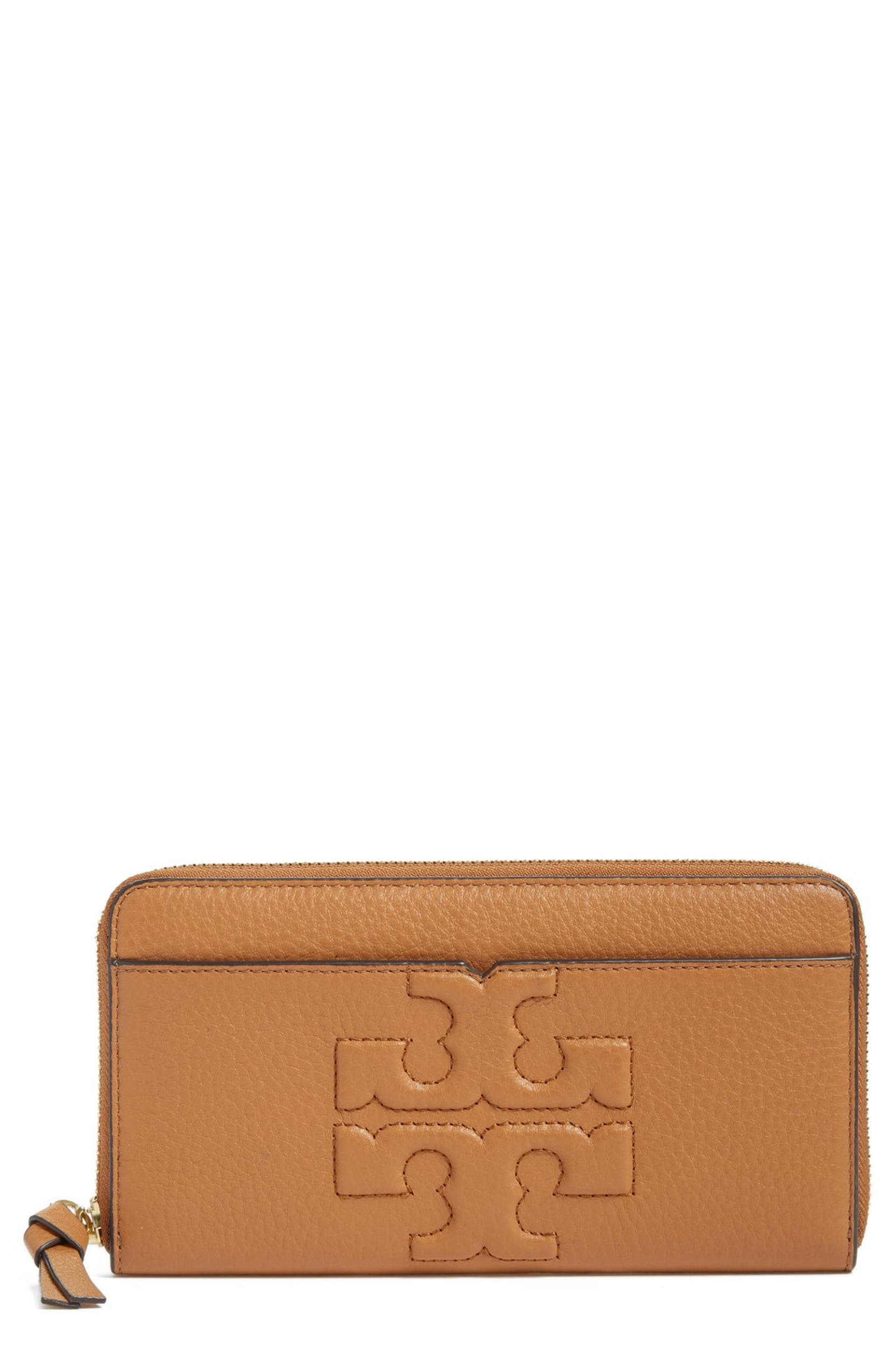 faf9c91ed6 Tory Burch 'Bombe T' Leather Zip Continental Wallet | Nordstrom