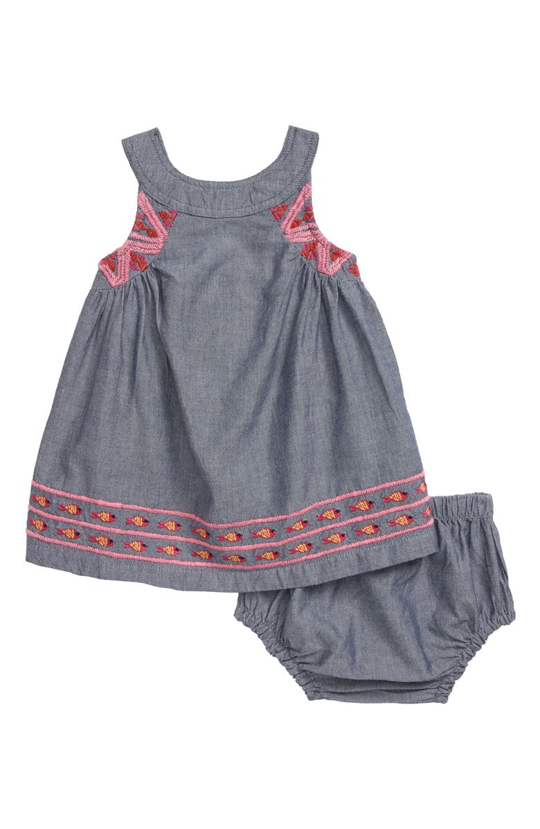 HATLEY Embroidered Chambray Dress, Main, color, BLUE