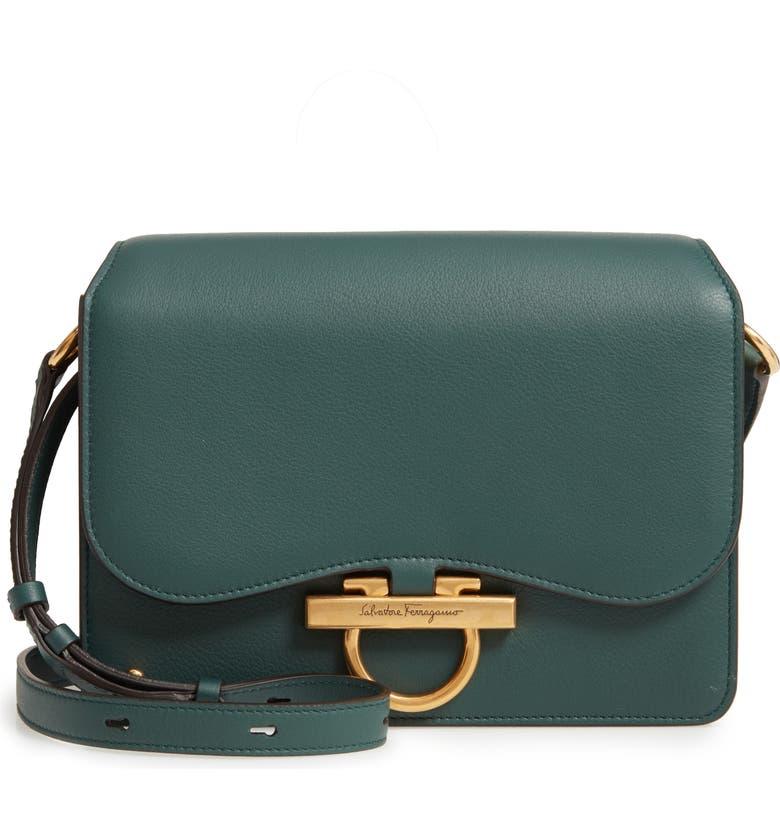 SALVATORE FERRAGAMO Joanne Leather Crossbody Bag, Main, color, PINE