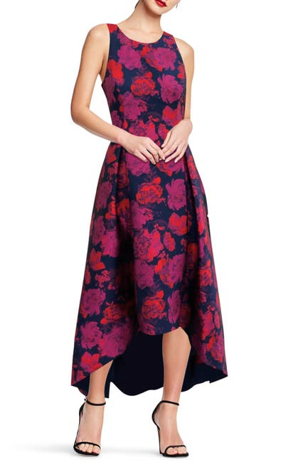 Image of Aidan by Aidan Mattox Floral High/Low Jacquard Dress