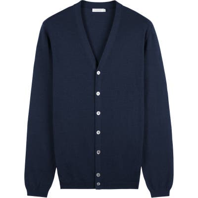 Suitsupply Merino Wool V-Neck Cardigan, Blue
