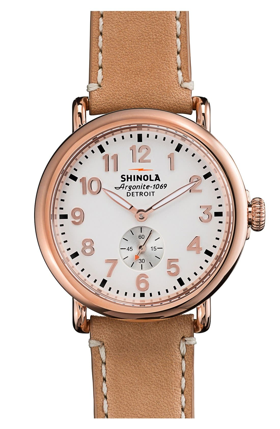 ,                             'The Runwell' Leather Strap Watch, 41mm,                             Main thumbnail 1, color,                             NATURAL/ ROSE GOLD