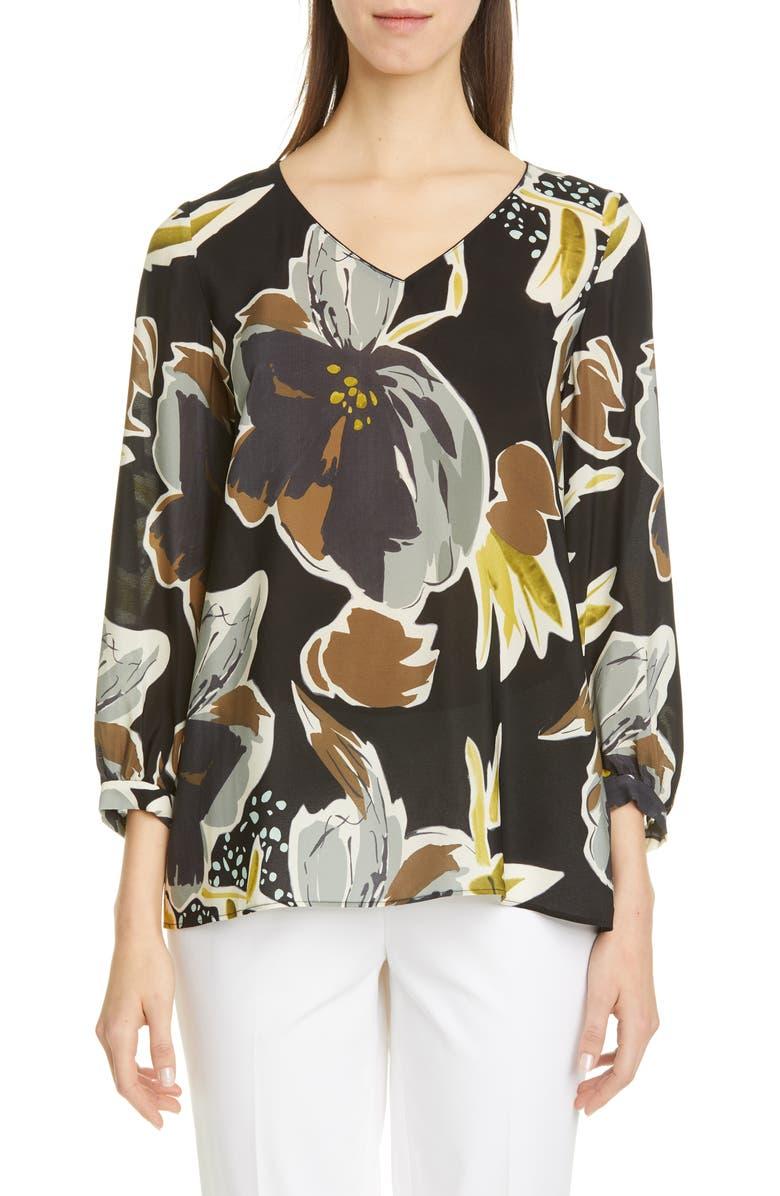 LAFAYETTE 148 NEW YORK Arnette Floral Silk Blouse, Main, color, BLACK MULTI