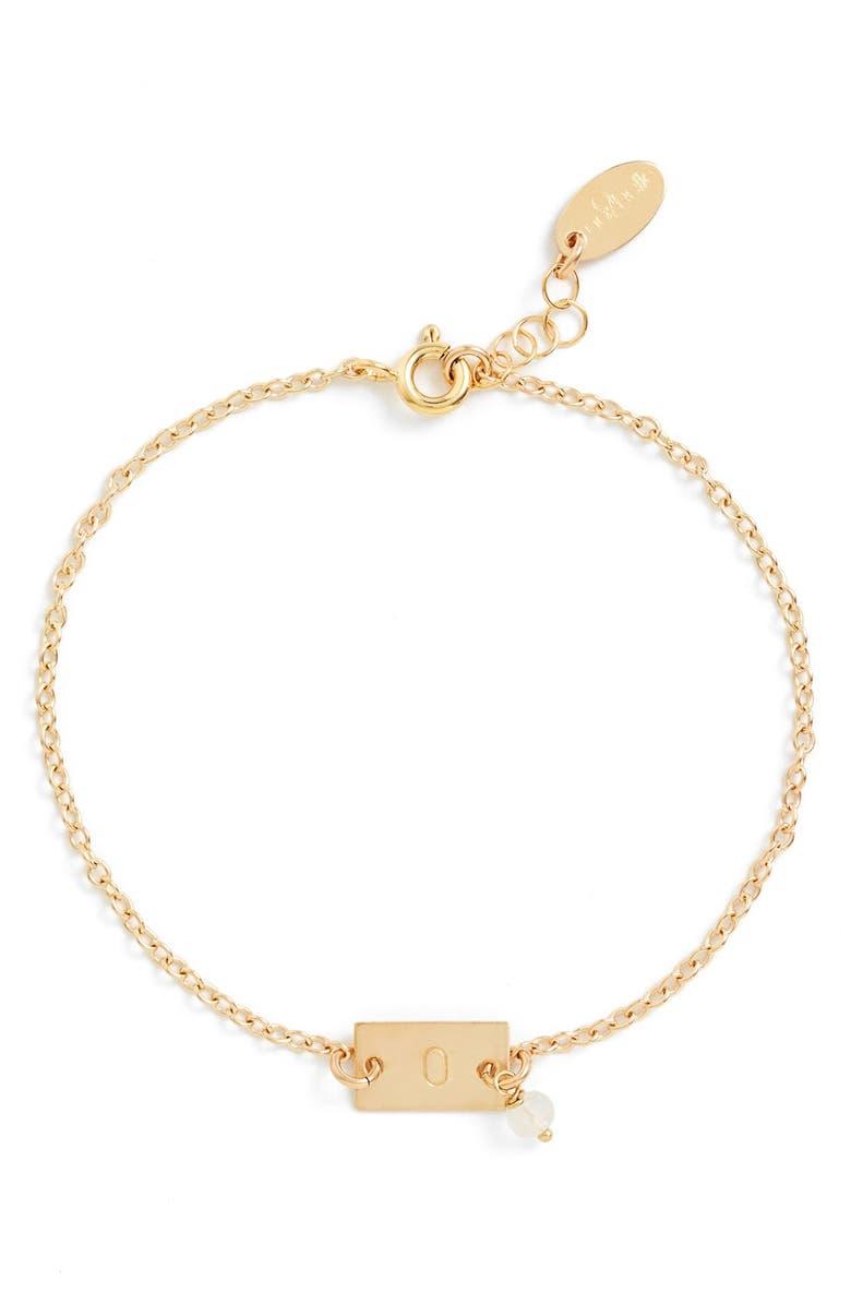 NASHELLE Shaka Initial 14k-Gold Fill Bar Bracelet, Main, color, 14K GOLD FILL O