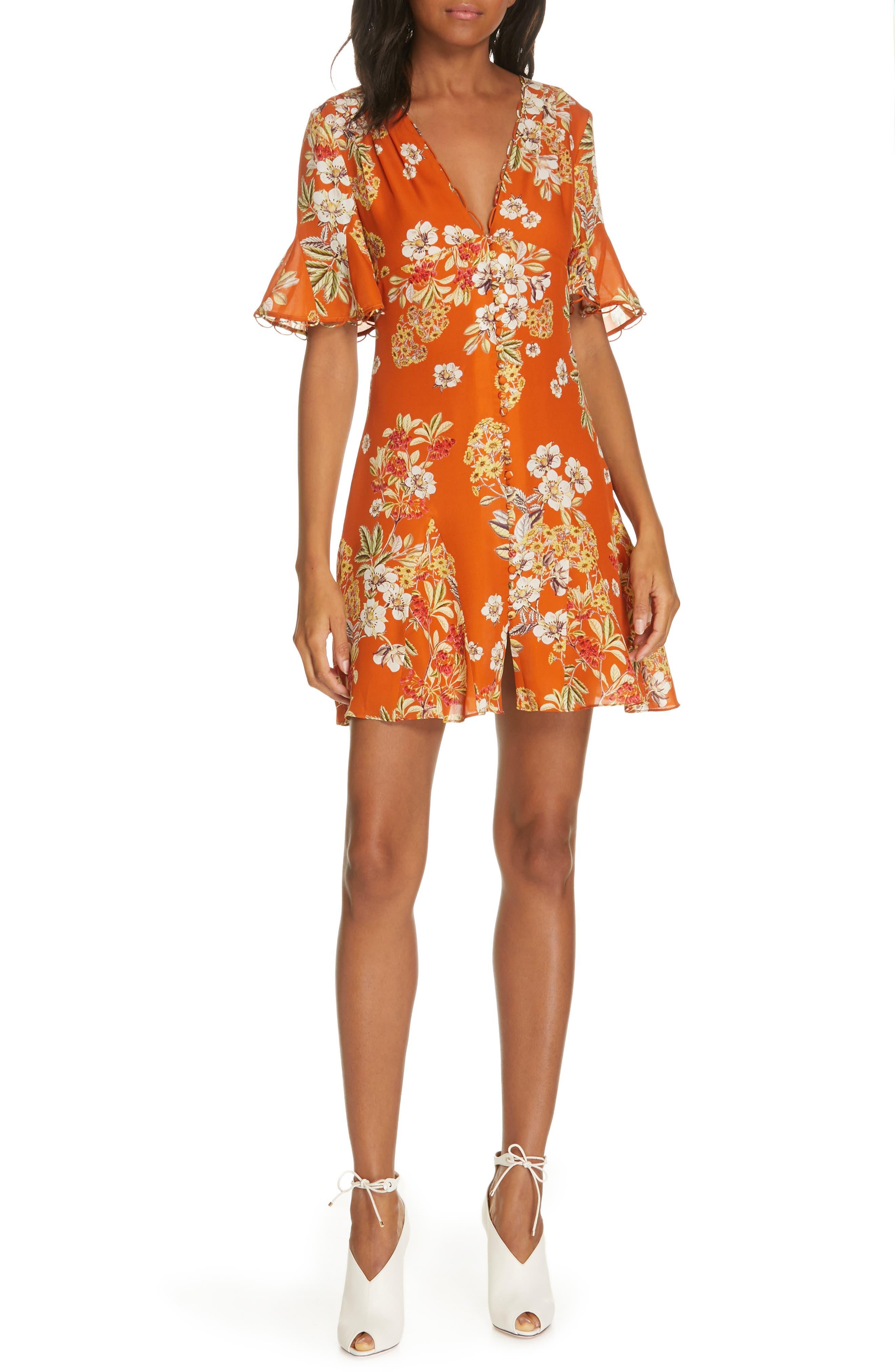 Nicholas Floral Silk Minidress, Orange