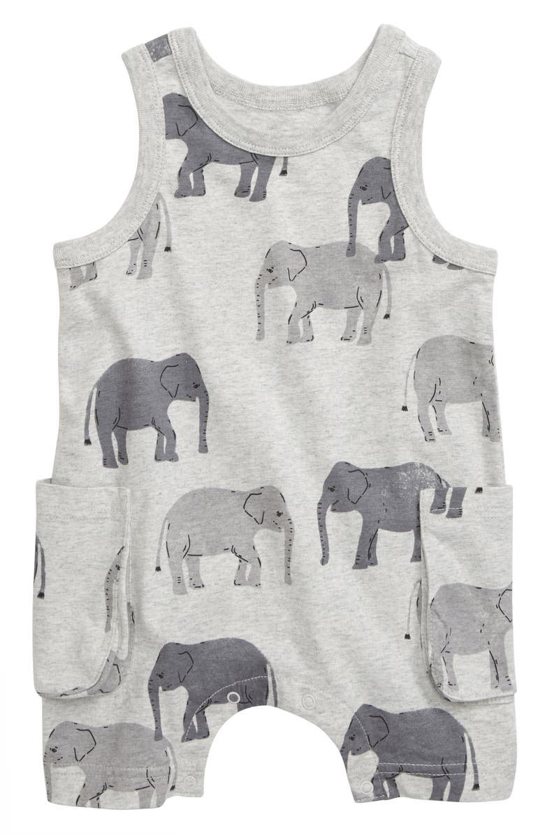 TEA COLLECTION Elephant Print Tank Romper, Main, color, 020