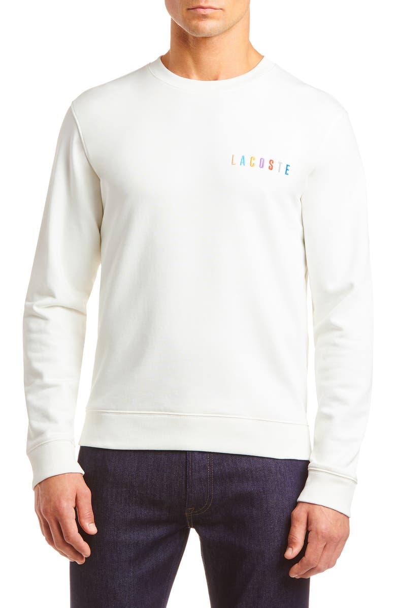LACOSTE Logo Embroidered Crewneck Sweatshirt, Main, color, 104