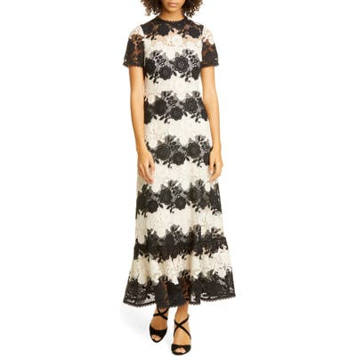 Red Valentino Bicolor Macrame Lace Maxi Dress, US - Ivory