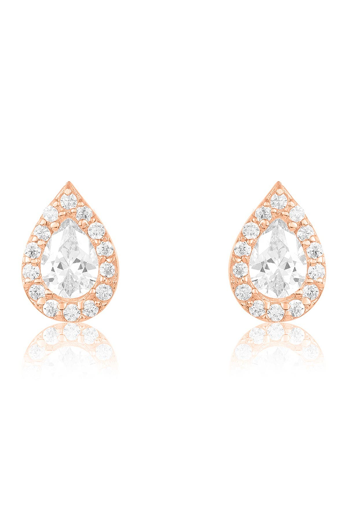 Image of Sterling Forever 14K Rose Gold Vermeil Plated Sterling Silver CZ Teardrop Stud Earrings