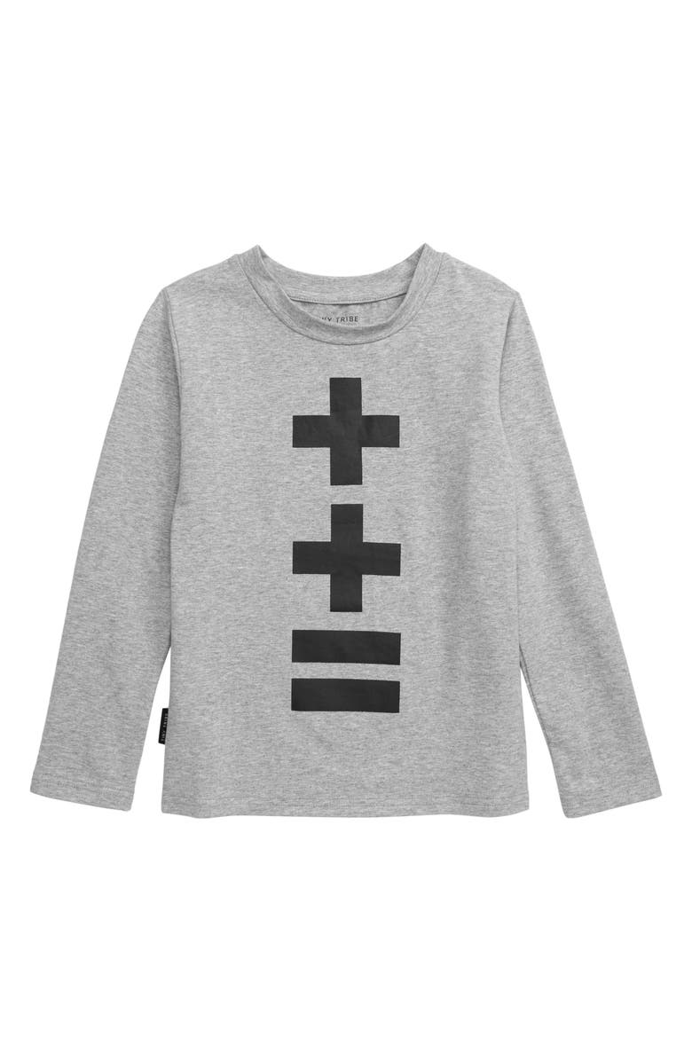 TINY TRIBE Equals Graphic Long Sleeve T-Shirt, Main, color, GREY MARLE