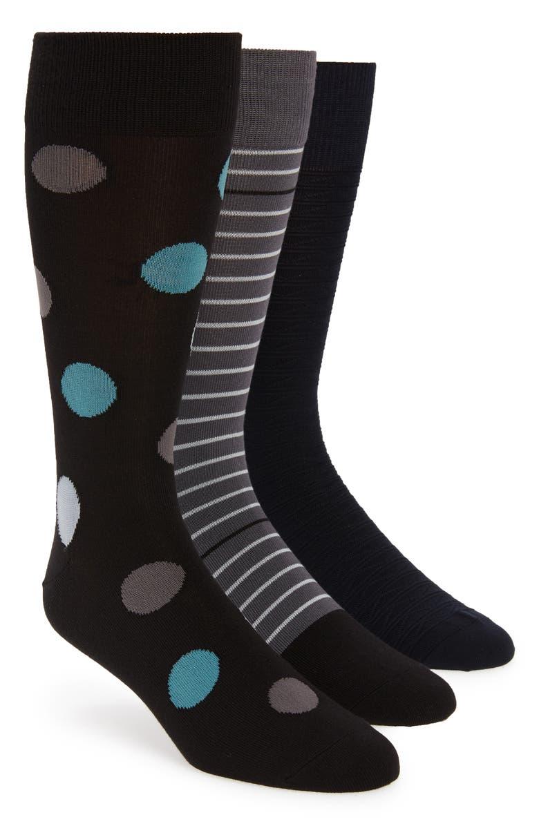 NORDSTROM MEN'S SHOP 3-Pack Socks, Main, color, BLACK/ NAVY/ GREY