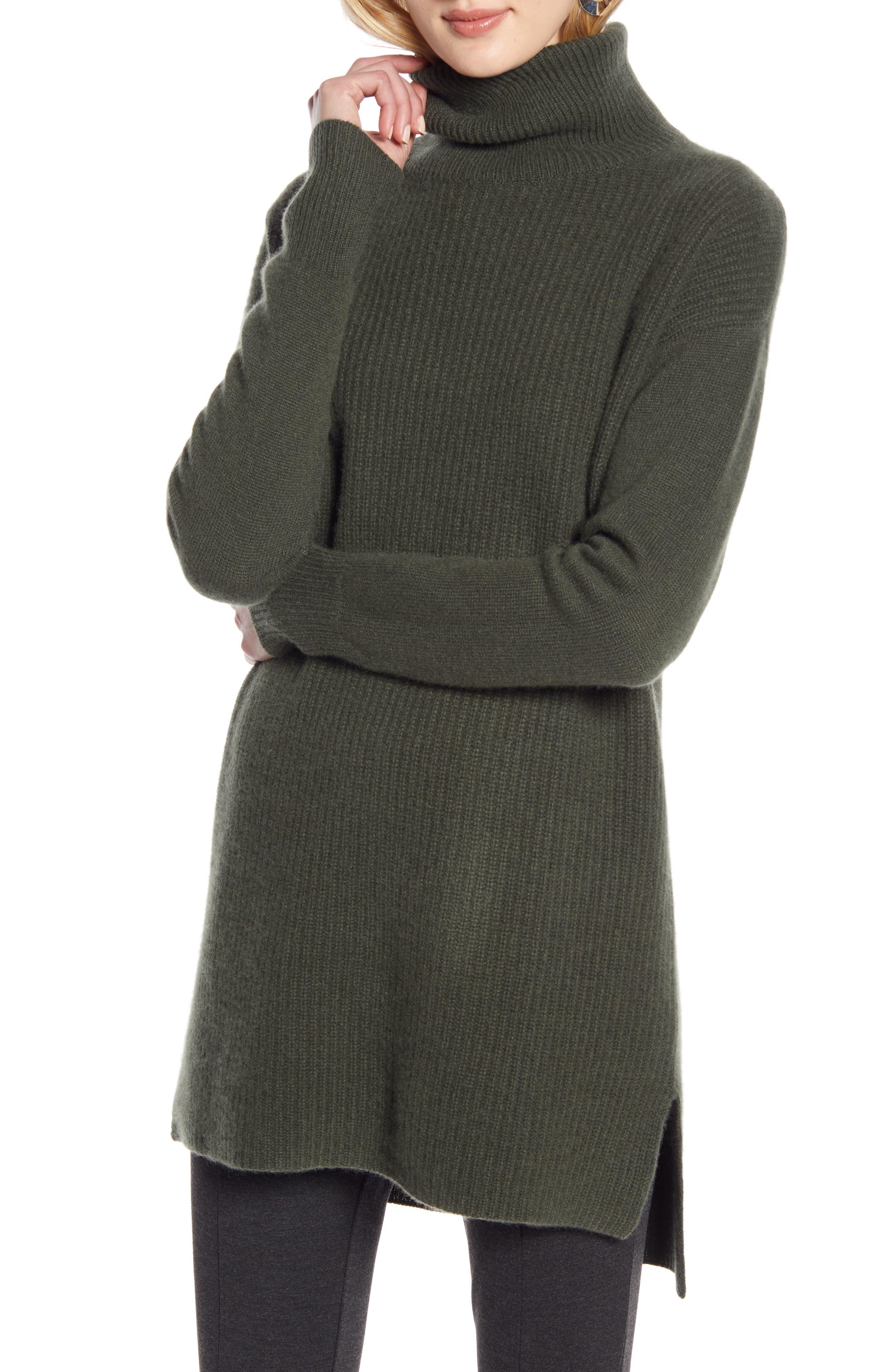 Halogen® High/Low Tunic Turtleneck Cashmere Sweater