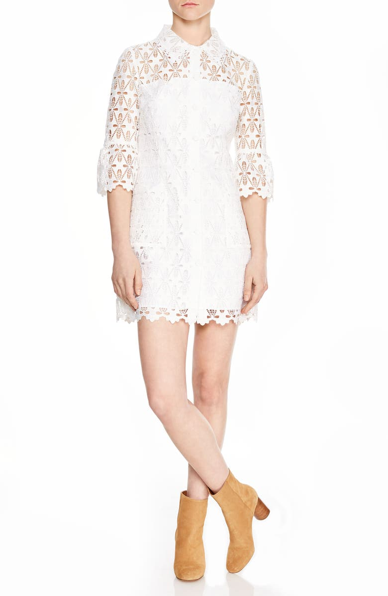SANDRO Lauretta Eyelet Lace Minidress, Main, color, 101