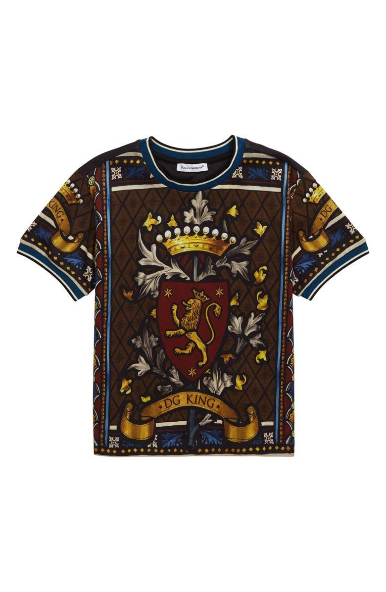 DOLCE&GABBANA Manica Corta T-Shirt, Main, color, BLACK PRINT