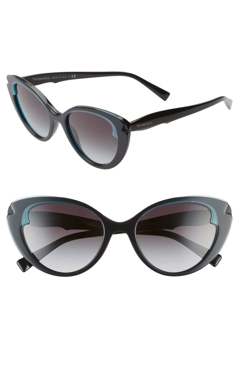 TIFFANY & CO. 54mm Cat Eye Sunglasses, Main, color, BLACK/ BLACK GRADIENT