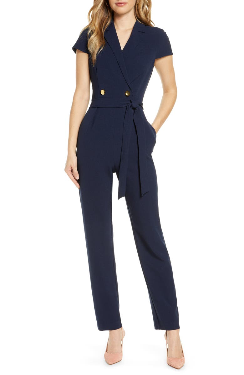 1901 Double Breasted Short Sleeve Jumpsuit, Main, color, 410