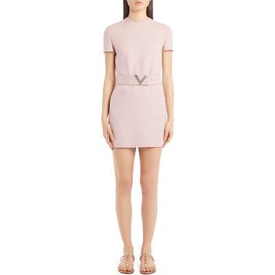 Valentino Vlogo Belted Wool & Silk Minidress, US / 40 IT - Pink