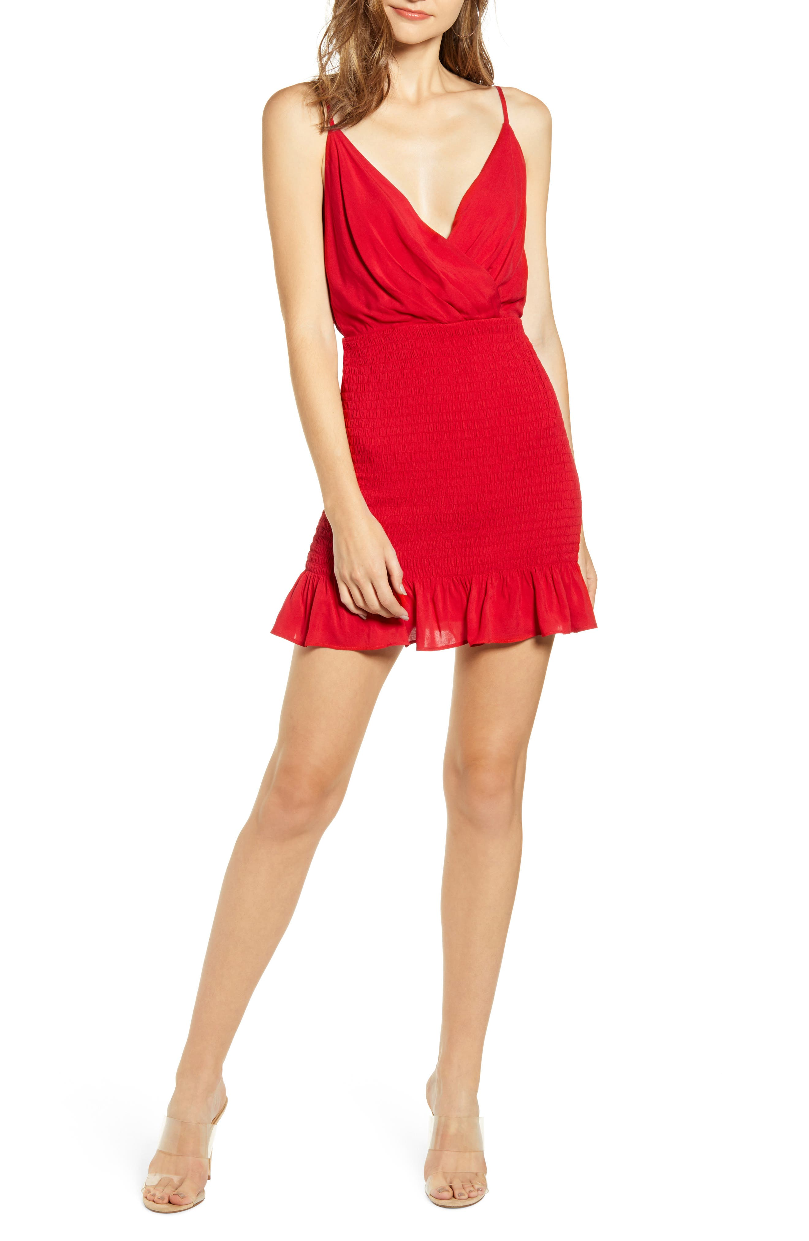 Row A Smocked Minidress, Red