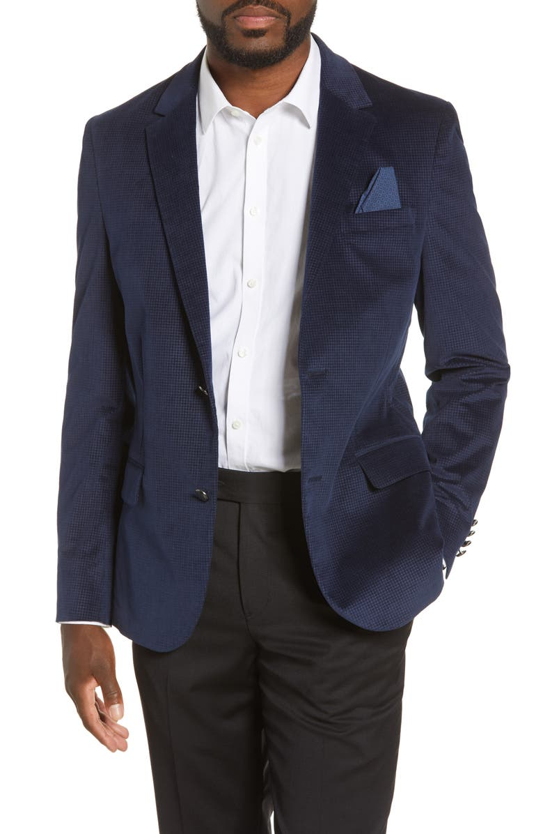 VINCE CAMUTO Slim Fit Stretch Velvet Blazer, Main, color, 410