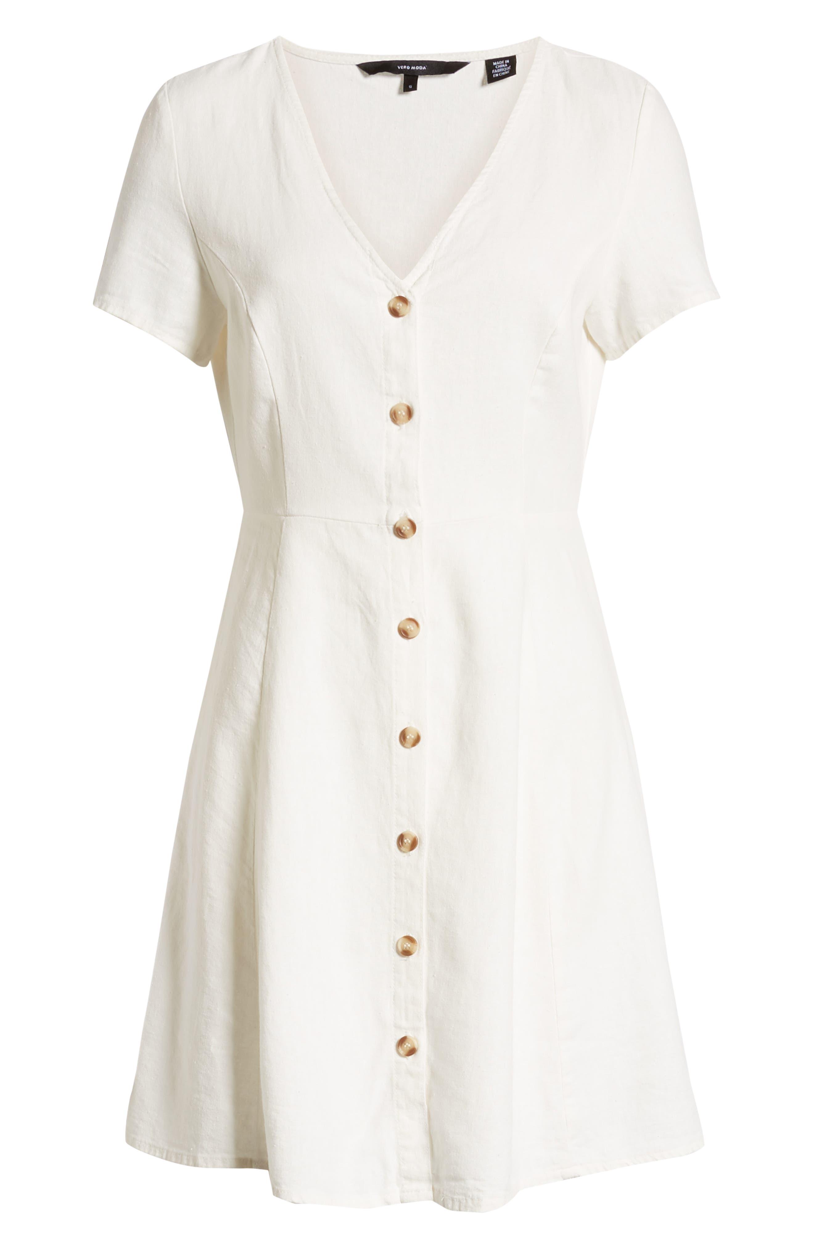 ,                             Anna Button Through Fit & Flare Dress,                             Alternate thumbnail 6, color,                             SNOW WHITE