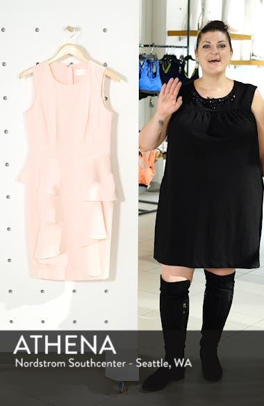Ella Ruffle Cascade Crepe Sheath Dress, sales video thumbnail