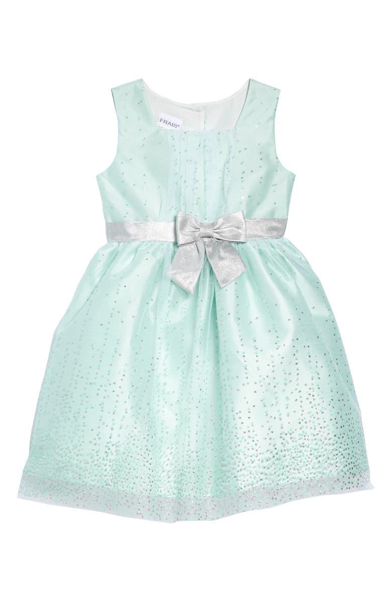 FRAIS Glitter Dot with Lamé Bow Party Dress, Main, color, 330