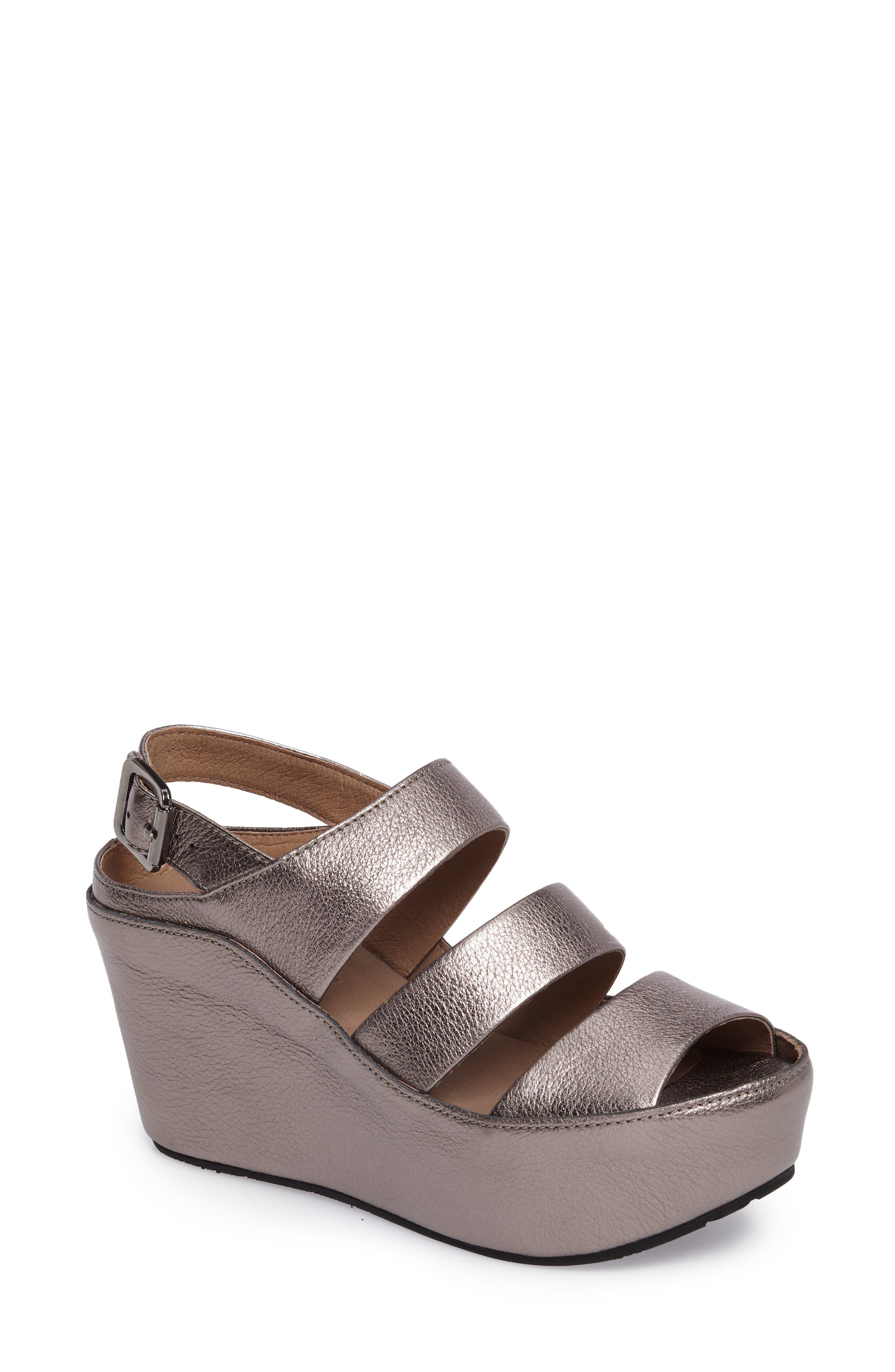 Chocolat Blu Windsor Platform Wedge Sandal- Metallic