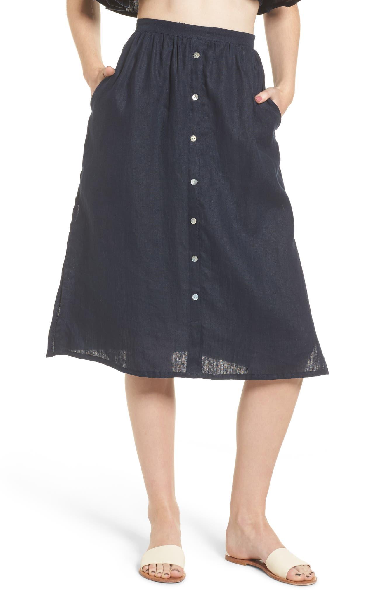82353227a0 FAITHFULL THE BRAND Seine Linen Midi Skirt | Nordstrom