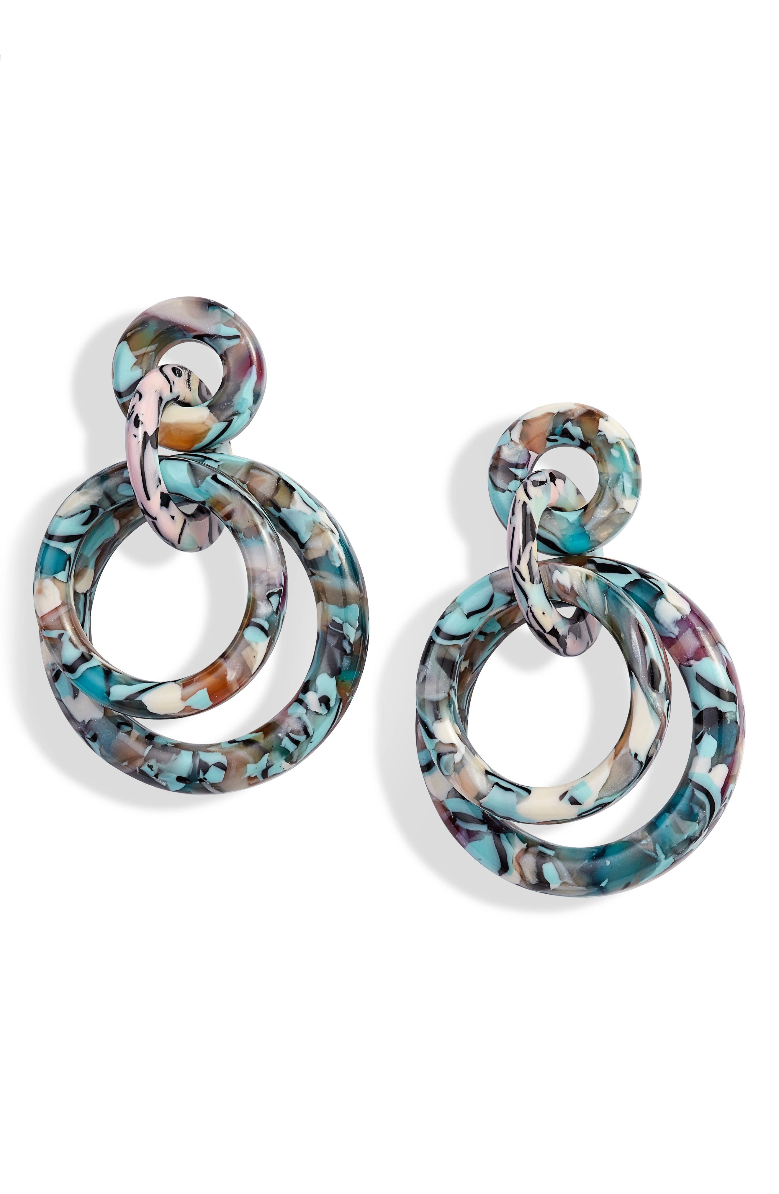 ,                             Double Ring Hoop Earrings,                             Main thumbnail 1, color,                             TURQUOISE CONFETTI
