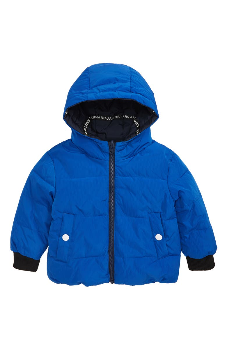 LITTLE MARC JACOBS Reversible Hooded Puffer Jacket, Main, color, BLUE