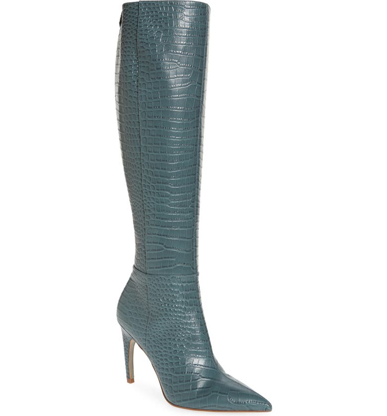 SAM EDELMAN Fraya Knee High Boot, Main, color, GREY IRIS LEATHER