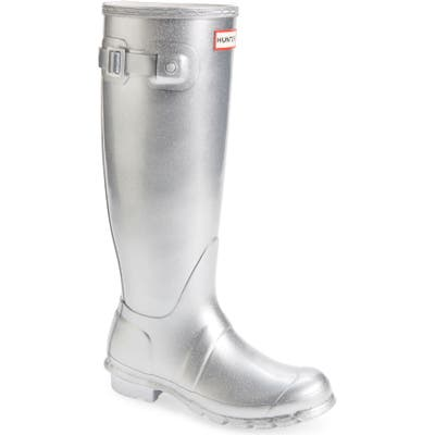 Hunter Original Tall Cosmic Waterproof Rain Boot, Metallic