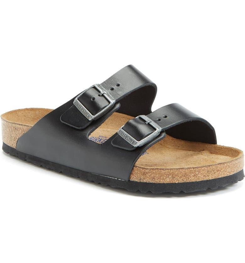 BIRKENSTOCK Arizona Soft Slide Sandal, Main, color, BLACK