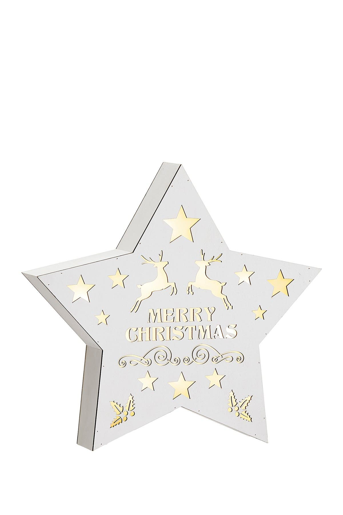 "Image of ALLSTATE 10.5"" Battery Operated Merry Christmas Star-Shaped Table Top with Light"