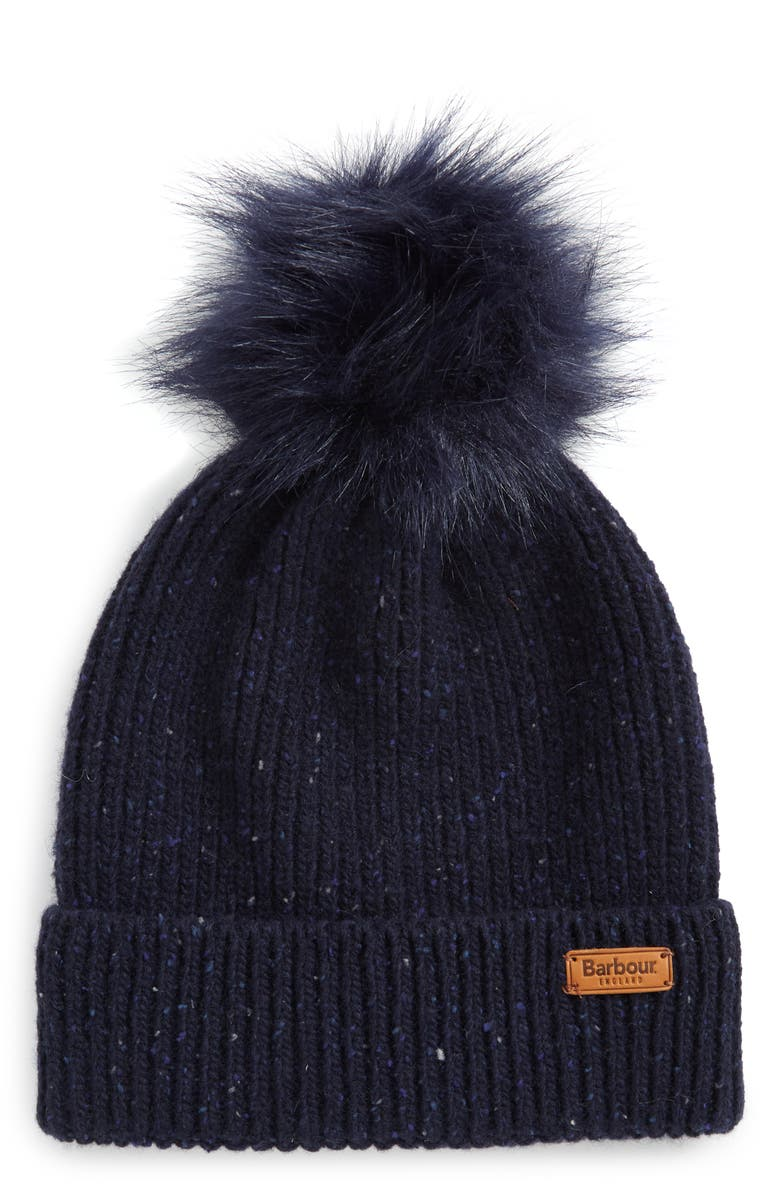 BARBOUR Weymouth Wool Blend Beanie with Faux Fur Pom, Main, color, 400