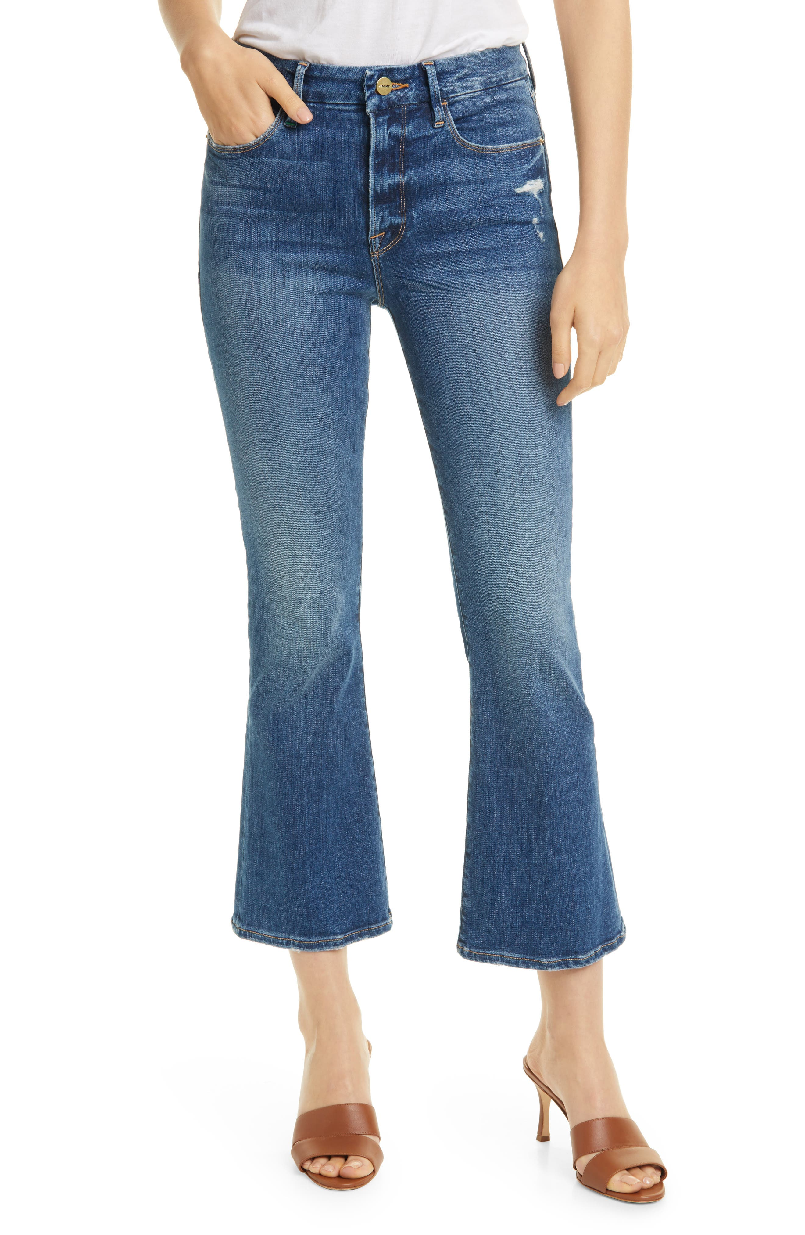 FRAME Le Mini Crop Distressed Bootcut Jeans (Packard Rips)